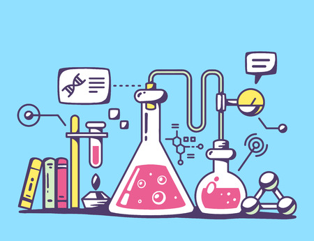 Vector illustration of red and yellow chemical laboratory flasks on blue background. Bright color line art design for web, site, advertising, banner, flyer, poster, board and print.