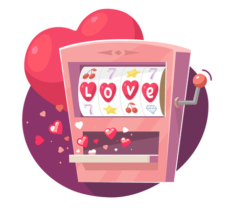 Vector illustration of gaming machine with red hearts on purple  background. Art design for Valentine's Day greetings and card, web, banner, poster, flyer, brochure, print.