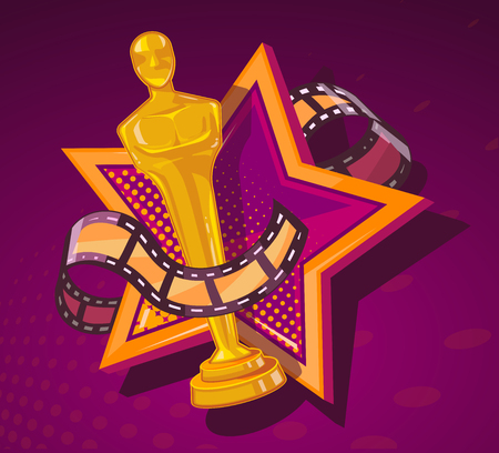 Illustration pour Vector illustration of yellow cinema award with big star and film reel on dark red background. Art design for web, site, advertising, banner, poster, flyer, brochure, board, paper print. - image libre de droit