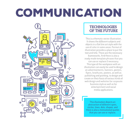 Vector creative concept illustration of communication with header and text on white background. Communication technology composition template. Hand draw flat thin line art style monochrome design blue and yellow colors for global computer network and soci