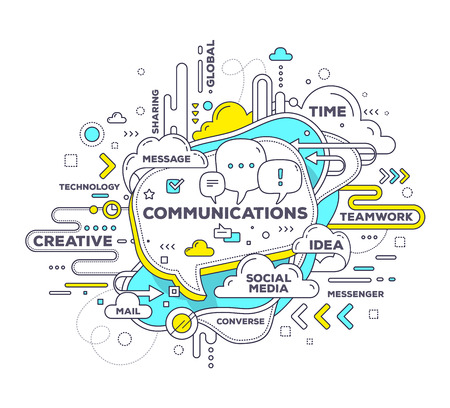 Illustration pour Vector creative illustration of mobile communication with speech bubble and tag cloud on white background. Mobile communication technology concept. Hand draw thin line art style monochrome design with speech bubble for mobile communication theme - image libre de droit