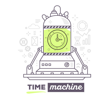 Vector illustration of creative professional mechanism of time machine with gray icons, text time machine on white background. Draw flat thin line art style design for business time machine, management theme with clock