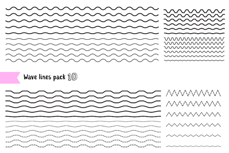 Illustration pour Vector collection of graphic design elements variation dotted line and solid line. Different thin line wide and narrow wavy line on white background. Big set of wavy - curvy and zigzag - criss cross horizontal lines. Wave line for design of decorative bor - image libre de droit