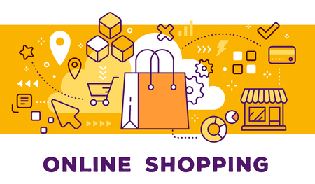 Ilustración de Vector illustration of shopping hand bag, store and icons. Online shopping concept on yellow background with title. - Imagen libre de derechos