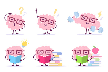 Illustration pour Enjoyable education brain cartoon concept. Set of illustration of pink color happy brain with glasses on white background with pile of books, light bulb, dumbbells. Flat style design of character brain for knowledge. - image libre de droit