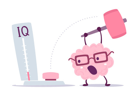 Illustration pour A Vector illustration of pink color human brain with glasses hits with a hammer to measure IQ level on white background. Very strong cartoon brain concept. Doodle style. Flat style design of character brain for training, education theme - image libre de droit