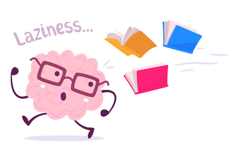 Ilustración de Vector illustration of a brain avoiding knowledge cartoon concept. Pink color lazy brain with glasses running away from color books flying behind on white background. Flat style design of character brain for knowledge, education theme - Imagen libre de derechos