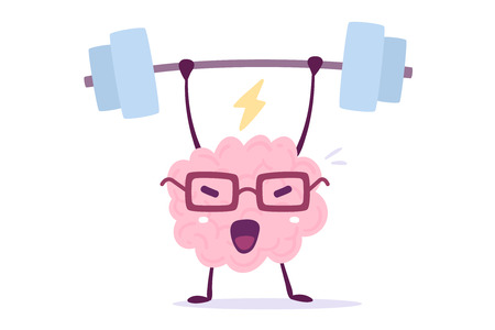 Ilustración de Illustration of pink color brain character with glasses lifting weights on white background. Doodle style. Flat style design of character brain for sport training - Imagen libre de derechos
