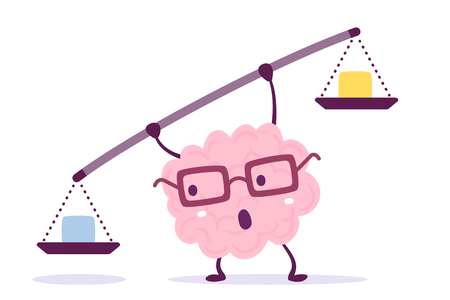 Ilustración de Vector illustration of pink color human brain with glasses holding a scales in hands on white background. Decision making cartoon brain concept. Doodle style. Flat style design of character brain for training, education theme - Imagen libre de derechos