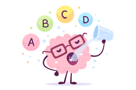 Photo pour A vector illustration of pink color human brain character with eye glasses and drinking on white background. Proper nutrition cartoon brain concept. Healthy lifestyle. Flat style design - image libre de droit