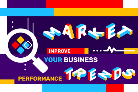 Illustration pour Market trends concept on color background with magnifier icon, geometric element. Vector creative horizontal illustration of 3d word lettering typography. Isometric template design for business web banner - image libre de droit