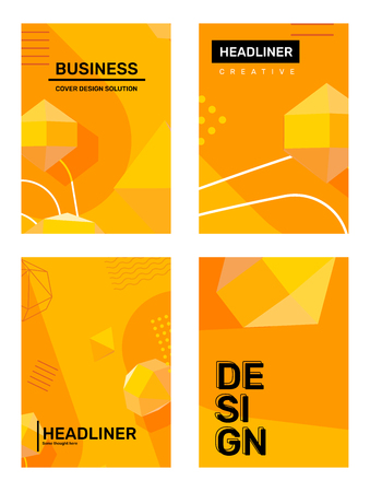 Illustration pour Vector set of creative yellow abstract a4 illustration. Business template composition background with shape, 3d element, header. Abstraction design for web, site, banner, print, poster, presentation - image libre de droit
