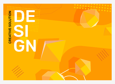 Illustration pour Vector creative bright yellow abstraction illustration in frame. Business abstract background with shape, 3d element, header. Template composition design for web, site, banner, print, poster, presentation - image libre de droit