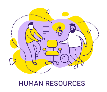 Vektor für Vector business illustration of people with vacancy chair, magnifier on color background. Human resources concept with man, text. Line art style design for web, site, poster, banner - Lizenzfreies Bild