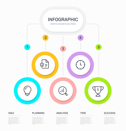 Illustration pour Vector infographic template with business icons, 5 circle options and steps on white background. Line art style design with text for web, site, banner, presentation, report - image libre de droit