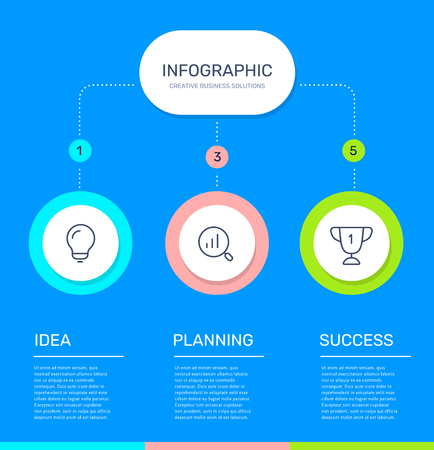 Illustration pour Vector infographic template with 3 circle, business icons, steps and options on blue color background. Line art style design with text and words for web, site, banner, presentation, report - image libre de droit