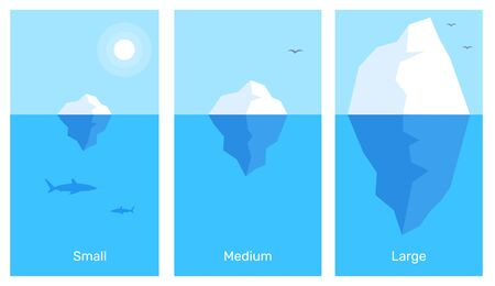 Illustration pour Vector business infographics element template. Creative illustration of 3 different size iceberg in blue water. Flat style design for web, site, banner, poster, presentation - image libre de droit