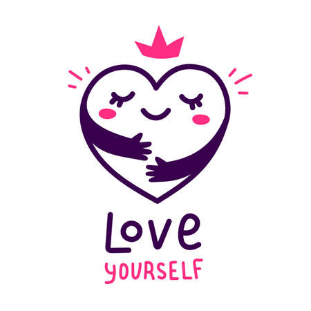 Illustration for Vector cute happy heart character with hands hugging self on white background, world heart day - Royalty Free Image