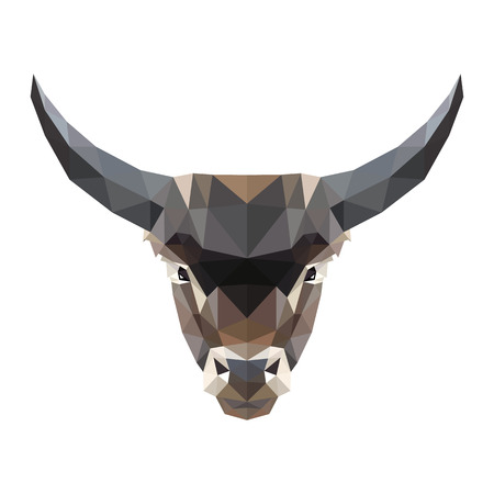 Vector symmetrical illustration of a bull on a white background. Made in low poly triangular style.