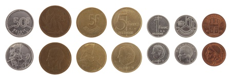 Old Belgian franc coins isolated on white