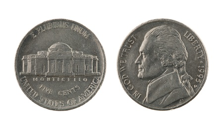 US one nickel coin (five cents) isolated on white – obverse and reverse