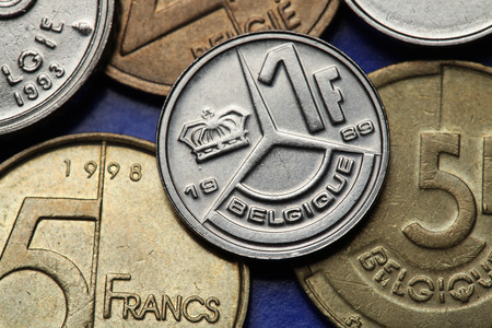 Coins of Belgium. Belgian one franc coin.