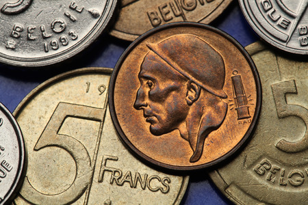 Coins of Belgium. Miner depicted on the Belgian 50 centimes coin.