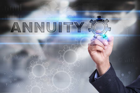 Businessman is drawing on virtual screen. annuity concept
