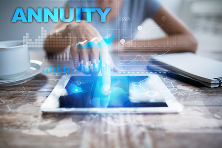 Woman using tablet pc, pressing on virtual screen and selecting annuity.