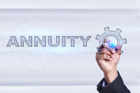Businessman drawing on virtual screen. annuity concept.