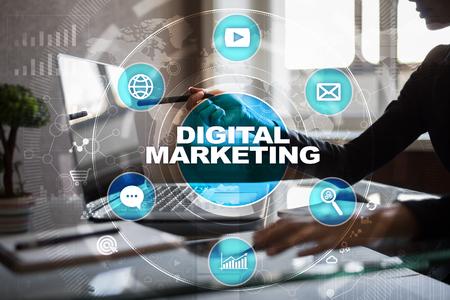 Photo pour DIgital marketing technology concept. Internet. Online. Search Engine Optimisation. SEO. SMM. Advertising. - image libre de droit