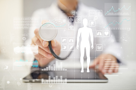 Photo for Doctor using modern computer with Medical record diagram on virtual screen concept. Health monitoring application. - Royalty Free Image