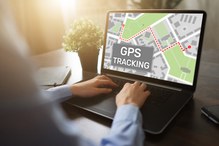 GPS (Global positioning system) tracking map on device screen.