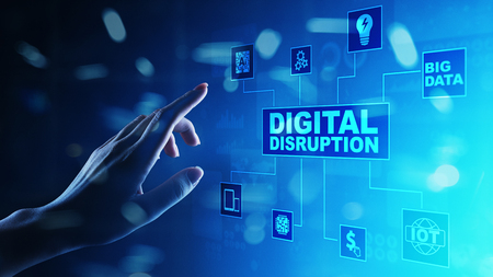Photo pour Digital Disruption. Disruptive business ideas. IOT internet of things, network, smart city and machines, big data, analytics, cloud, analytics, web-scale IT, Artificial intelligence, AI. - image libre de droit