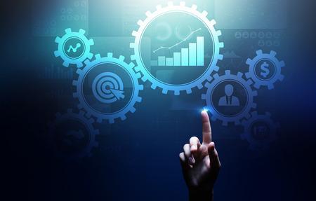 Photo pour Business process management, automation workflow, document validation, connected gear cogs with icons, technology concept. - image libre de droit