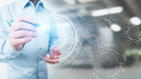Photo pour Copyspace, Blueprint, Drawing, Design, CAD on virtual screen. Background for Technology, Business, Industrial concept. - image libre de droit