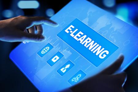 Foto de E-learning, Online education, internet studying. Business, technology and personal development concept on virtual screen. - Imagen libre de derechos
