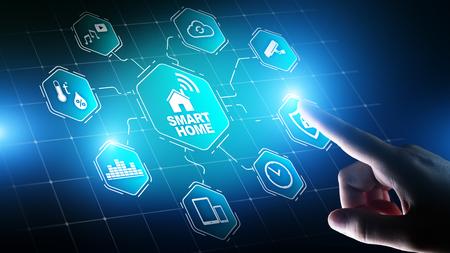 Photo pour Smart home control panel on virtual screen. IOT and Automation technology concept. - image libre de droit