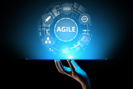 Foto de Agile development methodology concept on virtual screen. Technology concept. - Imagen libre de derechos
