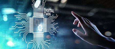 Photo pour Digital twin business and industrial process modelling. innovation and optimisation. - image libre de droit
