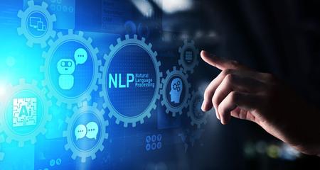 Photo pour NLP natural language processing cognitive computing technology concept on virtual screen. - image libre de droit
