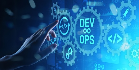 Photo for DevOps Agile development concept on virtual screen. - Royalty Free Image
