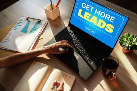 Foto de Lead generation start button on screen. Digital marketing and business strategy concept. - Imagen libre de derechos