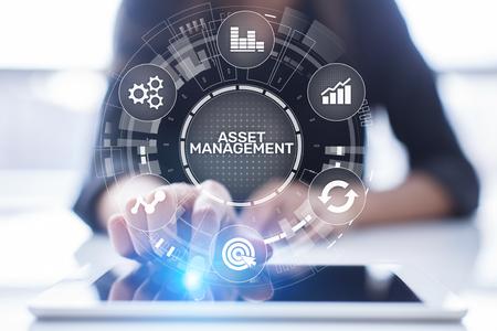 Photo pour Asset management concept on virtual screen. Business Technology concept - image libre de droit
