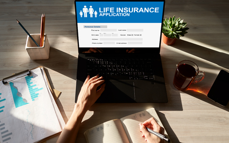 Photo pour Life insurance online application form on device screen. - image libre de droit