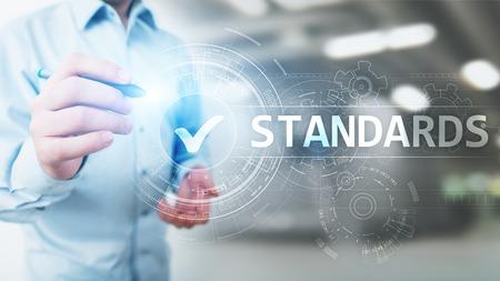 Foto de Standard. Quality control. ISO certification, assurance and guarantee. Internet business technology concept. - Imagen libre de derechos