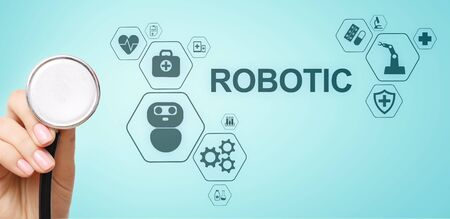 Photo for Medical robot rpa automation modern technology in medicine concept. - Royalty Free Image