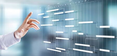 Photo pour Project management schedule plan diagram business process optimisation concept. - image libre de droit