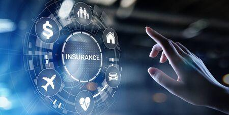 Foto de Insurance, health family car money travel Insurtech concept on virtual screen. - Imagen libre de derechos