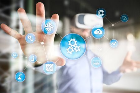 Photo pour Automation solution and software for business process, Workflow, Modern technology and automatization in manufacturing. Smart industry. - image libre de droit